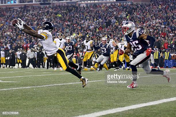 Eli Rogers of the Pittsburgh Steelers is unable to catch a pass during the second quarter against the New England Patriots in the AFC Championship...