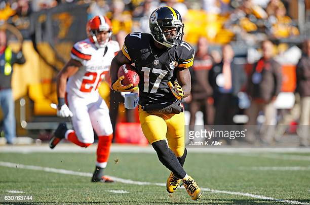 Eli Rogers of the Pittsburgh Steelers returns a punt in the first quarter during the game against the Cleveland Browns at Heinz Field on January 1...