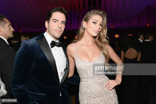 Eli Roth and Camila Morrone attend the 2018 Vanity Fair Oscar Party hosted by Radhika Jones at Wallis Annenberg Center for the Performing Arts on...