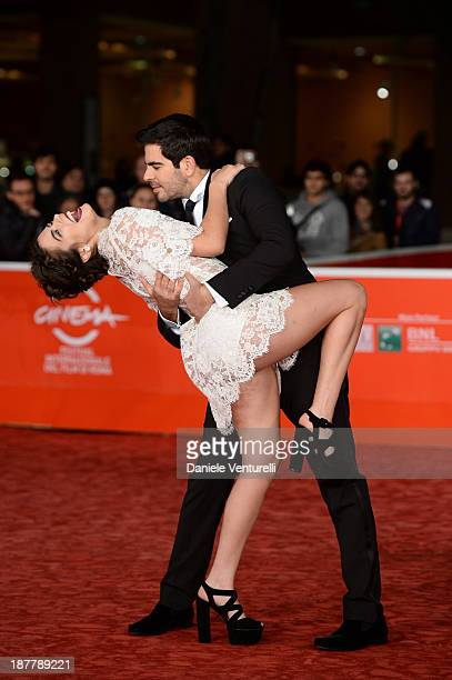 Eli Roth and Lorenza Izzo attend 'The Green Inferno' Premiere during The 8th Rome Film Festival on November 12 2013 in Rome Italy