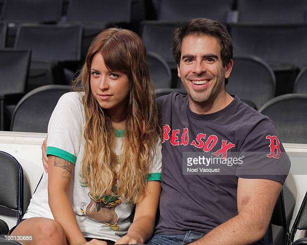 Eli Roth and Peaches Geldof attend Game Six of the NBA playoff finals between the Boston Celtics and the Los Angeles Lakers during the 2010 NBA...