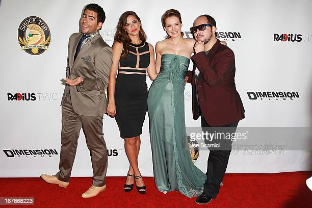 Eli Roth Lorenza Izzo Andrea Osvart and Nicolas Lopez arrive at the AFTERSHOCK premiere presented by Dimension Films and RADiUSTWC in partnership...