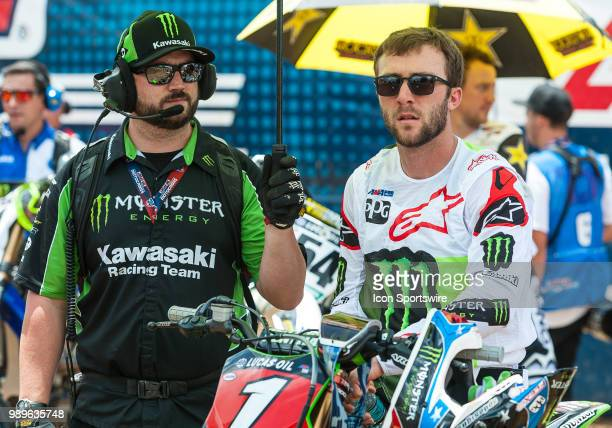 Eli Tomac at the starting line during the Lucas Oil Pro Motorcross Tennessee National race at Muddy Creek Raceway in Blountville TN