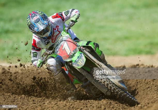 Eli Tomac rounds the corner during the Lucas Oil Pro Motorcross Tennessee National race at Muddy Creek Raceway in Blountville TN
