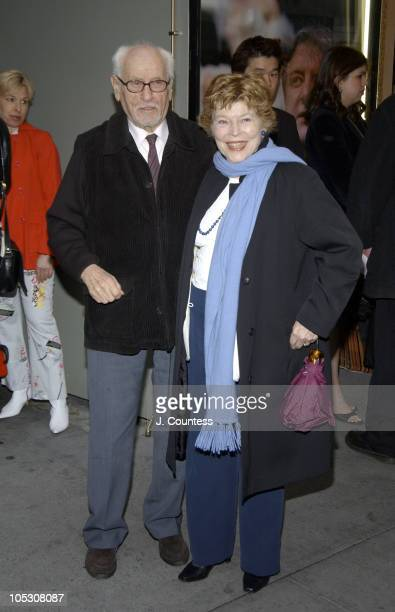 Eli Wallach and Anne Jackson during Opening Night of Jumpers Arrivals at Brooks Atkinson Theater in New York City New York United States