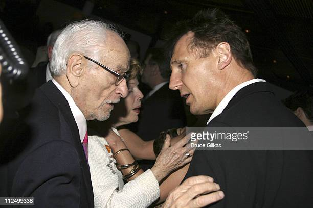 """Eli Wallach and Liam Neeson during """"A Streetcar Named Desire"""" on Broadway - Curtain Call and After Party at Roundabout Theater at Studio 54 in New..."""