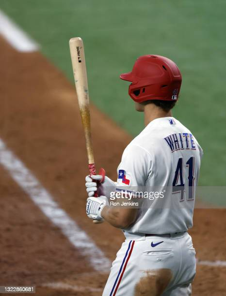 Eli White of the Texas Rangers at bat against the San Francisco Giants during the eighth inning at Globe Life Field on June 9, 2021 in Arlington,...