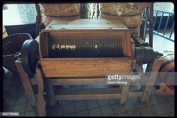 Eli Whitney's second patented cotton gin and other cottonrelated artifacts on display at the Savannah History Center Savannah Georgia USA | Location...
