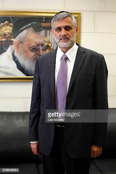 Eli Yishai leader of the Israeli Ultra Orthodox Shas party poses for a photo in his office on February 06 2013 in Jerusalem Israel