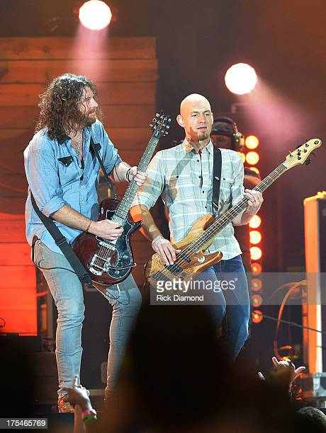 Eli Young Band members James Young and Jon Jones perform during Kenny Chesney's No Shoes Nation on Zac Brown's Southern Ground Tour at the Georgia...