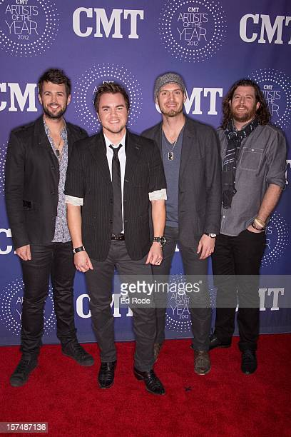 Eli Young Band members James Young Mike Eli Jon Jones and Chris Thompson attend the CMT Artist of the Year Awards at The Factory At Franklin on...