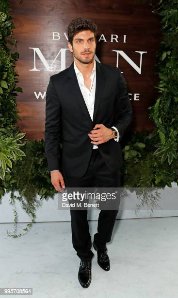 Elia Fongaro attends the BVLGARI MAN WOOD ESSENCE event at Sky Garden on July 10 2018 in London England