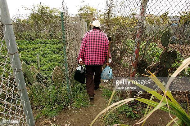 Elia Ortiz walks to his garden plot at the South Central Community Farm on March 9 2006 in Los Angeles California Owner and developer Ralph Horowitz...