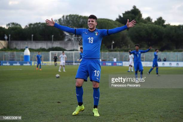 Elia Petrelli of Italy U19 celebrates after scoring the 30 goal during the International Friendly match between Italy U19 and Spain U19 on January 16...