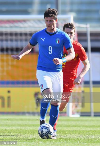 Elia Petrelli of Italy U19 in action during the UEFA Elite Round match between Italy U19 and Belgium U19 at Stadio Euganeo on March 20 2019 in Padova...