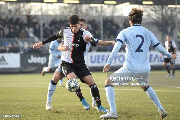 Elia Petrelli of Juventus in action during the UEFA Youth League match between Juventus U19 and Atletico Madrid U19 on November 26 2019 in Vinovo...