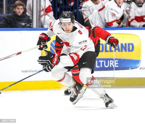 Elia Riva of Switzerland skates against Canada during the first period of play in the Quarterfinal IIHF World Junior Championship game at the KeyBank...