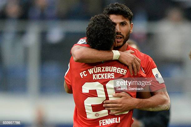 Elia Soriano of Wuerzburg celebrates after scoring his team's first goal with team mate Royal Dominique Fennell during the 2 Bundesliga playoff leg 2...