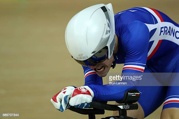 Elia Thomas Boudat of France competes in the Cycling Track Men's Omnium Time Trial on Day 10 of the Rio 2016 Olympic Games at the Rio Olympic...