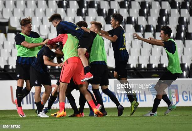Elia Visconti of FC Internazionale celebrates after scoring goal 23 during the U17 Serie A Final match between Atalanta BC and FC Internazionale on...