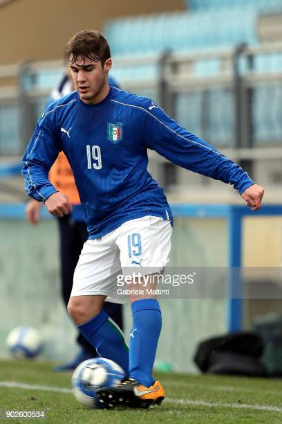 Elia Visconti of Italy in action during the at Coverciano 'Torneo Dei Gironi' Italian Football Federation U18 Tournament on January 8 2018 in...