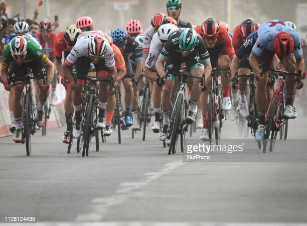 Elia Viviani of Italy and Deceuninck - Quick Step wins Sharjah Fifth Stage of UAE Tour 2019, a 181km with a start from Sharjah-Flag Island and finish...