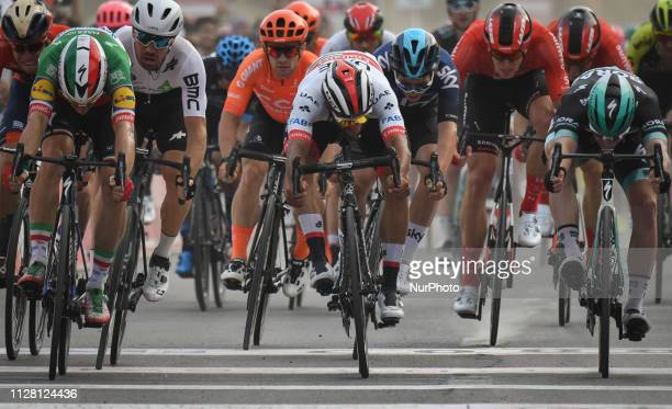 Elia Viviani of Italy and Deceuninck - Quick Step wins Sharjah Fifth Stage of UAE Tour 2019, ahead of Fernando GAVIRIA RENDON of Colombia and UAE...