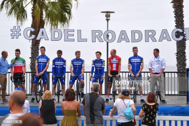 Elia Viviani of Italy and Deceuninck QuickStep Team / Remi Cavagna of France and Deceuninck QuickStep Team / Dries Devenyns of Belgium and Deceuninck...