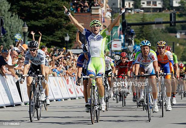 Elia Viviani of Italy and LiquigasCannondale celebrates after winning stage four of the 2011 USA Pro Cycling Challenge from Avon to Steamboat Springs...