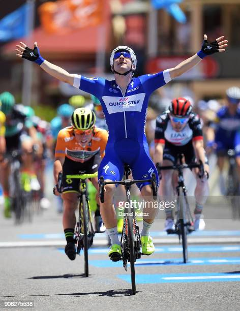 Elia Viviani of Italy and Quick-Step Floors crosses the finish line ahead of Caleb Ewan of Australia and Mitchelton-Scott during stage three of the...