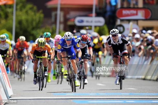 Elia Viviani of Italy and QuickStep Floors sprints to the finish line to win stage three of the 2018 Tour Down Under on January 18 2018 in Adelaide...