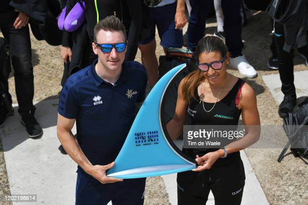 Elia Viviani of Italy and Team Cofidis Solutions Credits & Arlenis Sierra of Cuba and Astana Women's Team winners of 2019 edition / Trophy / during...