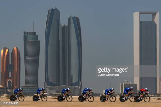 Elia Viviani of Italy and Team Deceuninck-QuickStep / Dries Devenyns of Belgium and Team Deceuninck-QuickStep / Remco Evenepoel of Belgium and Team...