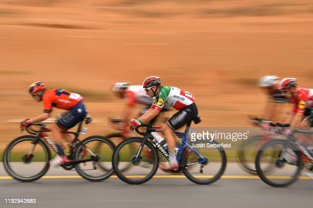 Elia Viviani of Italy and Team Deceuninck-QuickStep / Jan Tratnik of Slovenia and Team Bahrain-Merida / during the 5th UAE Tour 2019, Stage 6 a 180km...
