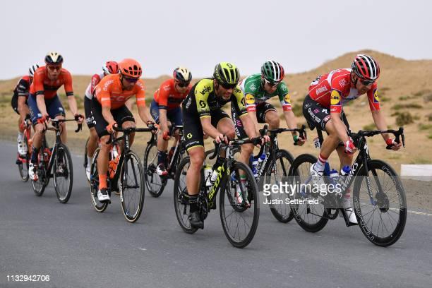 Elia Viviani of Italy and Team Deceuninck-QuickStep / Michael Morkov of Denmark and Team Deceuninck-QuickStep / William Clarke of Australia and Team...