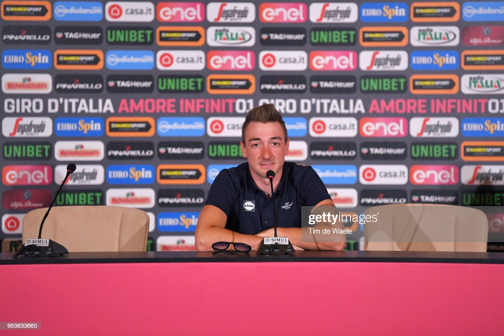 Elia Viviani of Italy and Team Quick-Step Floors during the 101th Tour of Italy 2018 Team Quick-Step Floors Press Conference on May 2, 2018 in Jerusalem, Israel.