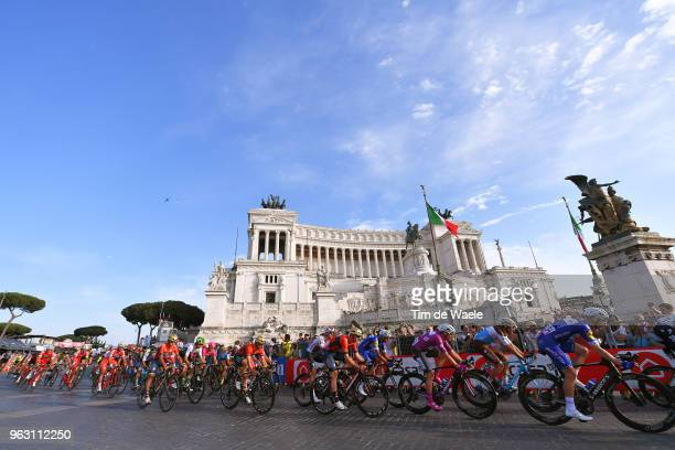 Elia Viviani of Italy and Team QuickStep Floors Purple Points Jersey / Matteo Montaguti of Italy and Team AG2R La Mondiale / Michael Morkov of...