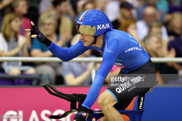Elia Viviani of Italy celebrates after winning gold in the Mens Team Pursuit during the track cycling on Day Two of the European Championships...