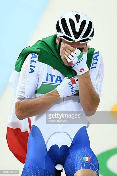 Elia Viviani of Italy celebrates after winning the Cycling Track Men's Omnium Points Race 6\6 on Day 10 of the Rio 2016 Olympic Games at the Rio...