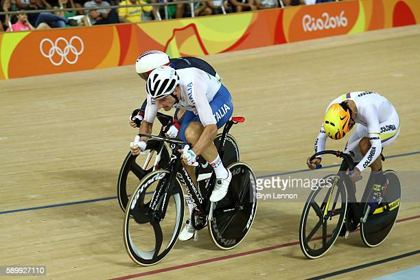 Elia Viviani of Italy competes during the Cycling Track Men's Omnium Points Race 66 on Day 10 of the Rio 2016 Olympic Games at the Rio Olympic...