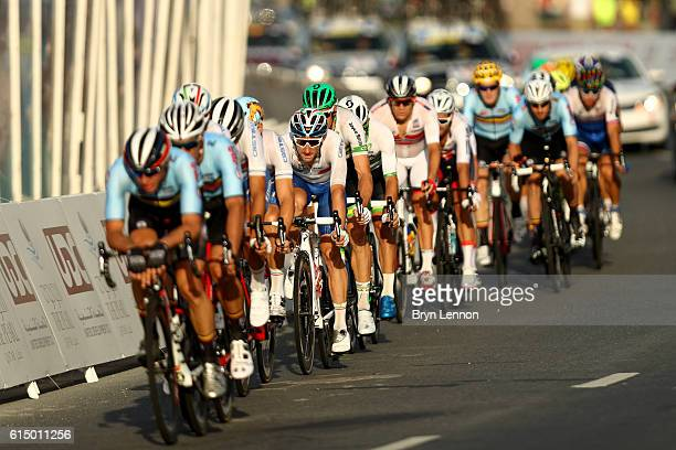 Elia Viviani of Italy rides in the lead group during the Elite Men's Road Race on day eight of the UCI Road World Championships on October 16, 2016...