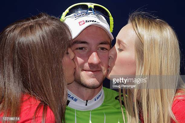 Elia Viviani of Itay riding for LiquigasCannondale takes the podium to receive the points leaders jersey after winning stage four of the 2011 USA Pro...