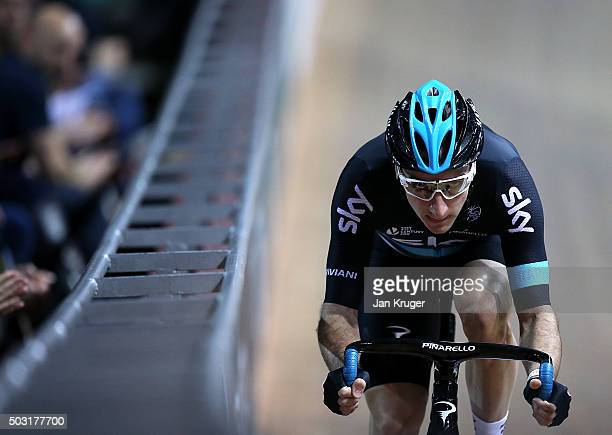 Elia Viviani of Team Sky competes in the Elite Championship Flying Lap during the Elite Track Cycling Revolution Series at National Cycling Centre on...