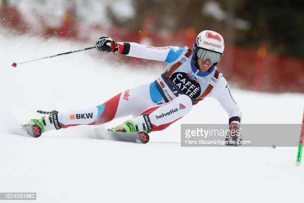 Elia Zurbriggen of Switzerland competes during the Audi FIS Alpine Ski World Cup Men's Giant Slalom on December 16 2018 in Alta Badia Italy