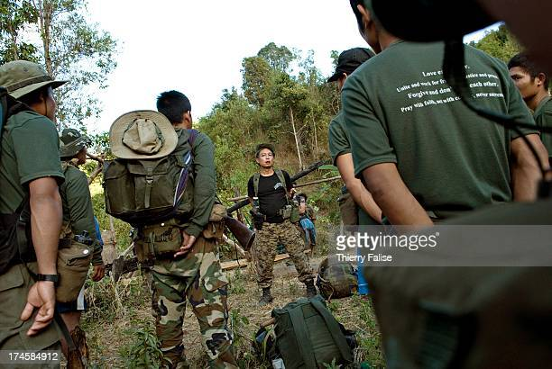 Eliah a Free Burma Rangers team leader gives his last instruction before the team moves to a community of displaced people hiding in the jungle in...