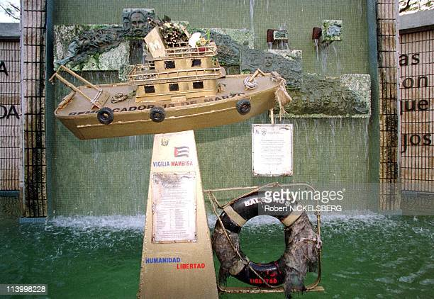 Elian Gonzalez protest In Miami United States On December 08 1999Boat people monument by an antiCastro exile group to the survivors of those Cubans...