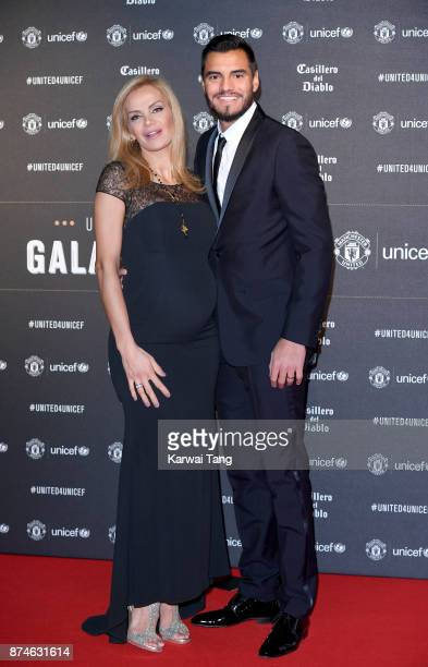 Eliana Guercio and Sergio Romero attend the United for Unicef Gala Dinner at Old Trafford on November 15 2017 in Manchester England
