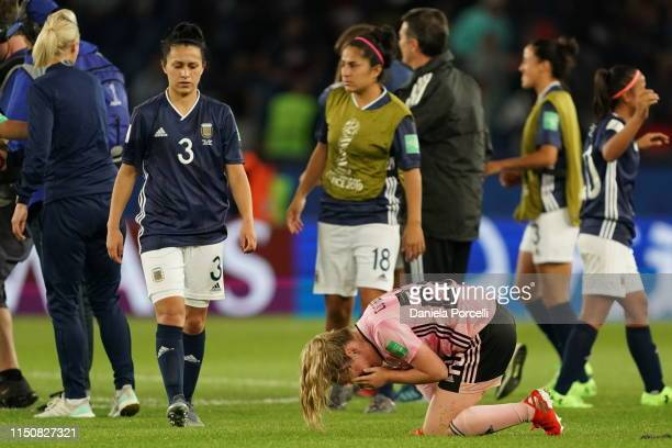 Eliana Stabile of Argentina and Erin Cuthbert of Scotland after the 2019 FIFA Women's World Cup France group D match between Scotland and Argentina...