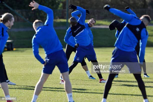 Eliaquim Mangala and Cenk Tosun warm up during the Everton training session at USM Finch Farm on February 2 2018 in Halewood England