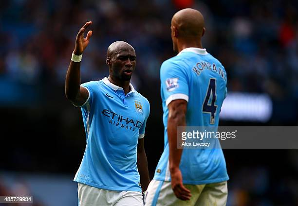 Eliaquim Mangala and Vincent Kompany of Manchester City celebrate their team's 20 win in the Barclays Premier League match between Manchester City...